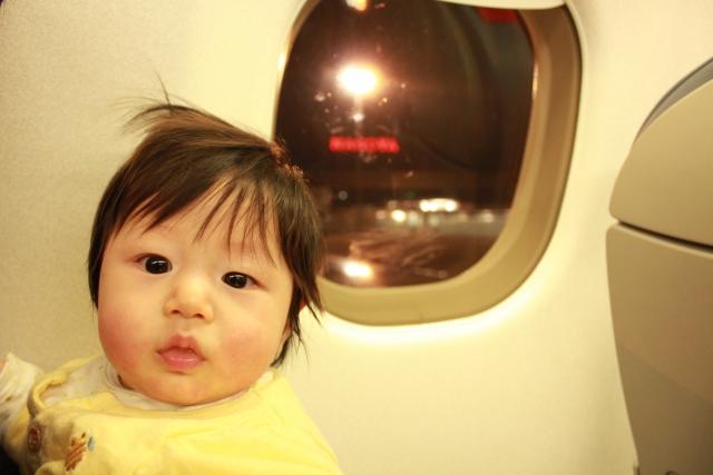 赤ちゃん飛行機乗る
